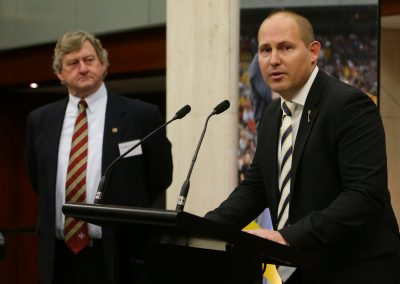 Co-Chair Curtis Pitt MP speaks at the launch of Parliamentary Friends of Rugby League (Source: NRL)