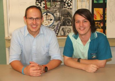 Curtis Pitt MP with Gordonvale artist Adam Coutts