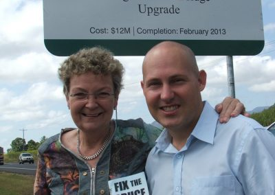 Curtis and Jan Wrights Creek project sign
